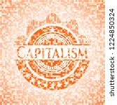 capitalism orange mosaic emblem ... | Shutterstock .eps vector #1224850324