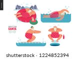 sporting santa   winter water... | Shutterstock .eps vector #1224852394