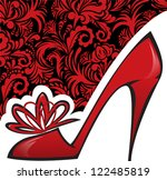 Red Shoe With A High Heel On...