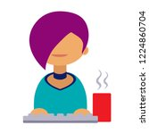cartoon vector icon of computer ... | Shutterstock .eps vector #1224860704