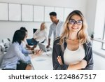 blonde female executive posing... | Shutterstock . vector #1224867517