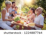 happy big family having lunch... | Shutterstock . vector #1224887764