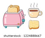 pink toaster with bread slices  ...   Shutterstock .eps vector #1224888667