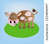 brown vector cartoon cheerful...   Shutterstock .eps vector #1224896947