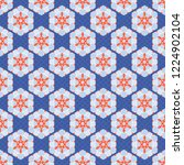 1950s style hexagon patchwork...   Shutterstock .eps vector #1224902104