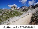 drei zinnen hut set among the... | Shutterstock . vector #1224904441
