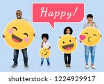 cheerful family with happy...   Shutterstock . vector #1224929917