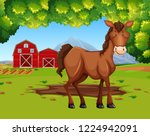 horse in the farmland... | Shutterstock .eps vector #1224942091