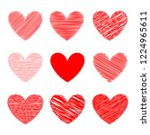 set red hearts hand drawn... | Shutterstock .eps vector #1224965611
