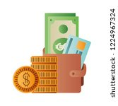 wallet with dollars and coins... | Shutterstock .eps vector #1224967324