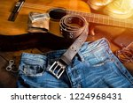 blue jeans with rock style of... | Shutterstock . vector #1224968431