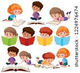 set of kid reading book...   Shutterstock .eps vector #1224976474
