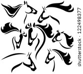 Stock vector horse head outlines black and white vector design set 122498377