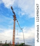 construction tower crane and... | Shutterstock . vector #1224984247