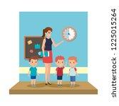 female teacher with kids in the ... | Shutterstock .eps vector #1225015264