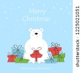holiday card. polar bear and...   Shutterstock .eps vector #1225021051