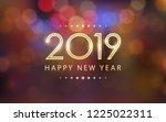 glowing golden happy new year... | Shutterstock .eps vector #1225022311