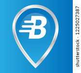 letter b and map pin. logo...