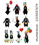 funny set with cute black... | Shutterstock .eps vector #1225037674