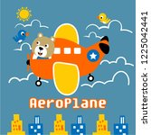 aeroplane with a bear funny... | Shutterstock .eps vector #1225042441