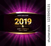 2019 golden new year sign with... | Shutterstock . vector #1225043131
