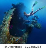 underwater shoot of a woman... | Shutterstock . vector #122506285
