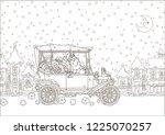 santa claus driving his car... | Shutterstock .eps vector #1225070257