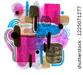 hand drawn abstract composition ... | Shutterstock . vector #1225071277
