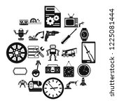 machinery icons set. simple set ... | Shutterstock .eps vector #1225081444