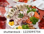 delicious dishes on the table... | Shutterstock . vector #1225095754