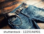 blue jeans with rock style of... | Shutterstock . vector #1225146901