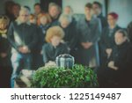 a metal urn with ashes of a... | Shutterstock . vector #1225149487