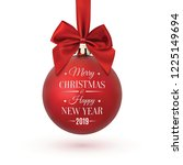 red christmas ball with ribbon... | Shutterstock .eps vector #1225149694