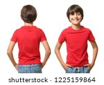 Little Boy In T Shirt On White...