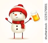 cheerful snowman with beer.... | Shutterstock .eps vector #1225170001