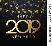black happy new year 2019 card...   Shutterstock .eps vector #1225194064