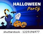 halloween party concept... | Shutterstock . vector #1225196977
