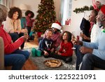 multi generation family... | Shutterstock . vector #1225221091