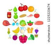 plantation icons set. cartoon... | Shutterstock .eps vector #1225223674