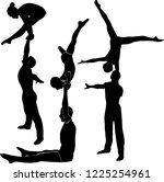 gymnasts acrobats vector black...   Shutterstock .eps vector #1225254961