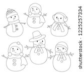 snowman coloring page for kids. ...   Shutterstock .eps vector #1225257334