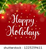 happy holidays greeting card.... | Shutterstock .eps vector #1225259611