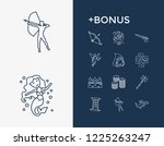 fantasy icon set and fairy with ...