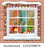 christmas window in brick wall. ... | Shutterstock .eps vector #1225338874