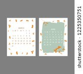 floral 2019 calendar. yearly... | Shutterstock .eps vector #1225350751