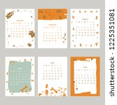 floral 2019 calendar. yearly... | Shutterstock .eps vector #1225351081