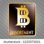 gold shiny emblem with bitcoin ... | Shutterstock .eps vector #1225372021