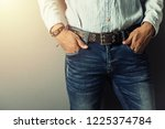 the handsome man wear blue... | Shutterstock . vector #1225374784