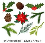 flat vector set of christmas... | Shutterstock .eps vector #1225377514