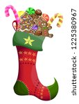 christmas sock with sweets....   Shutterstock .eps vector #1225380967